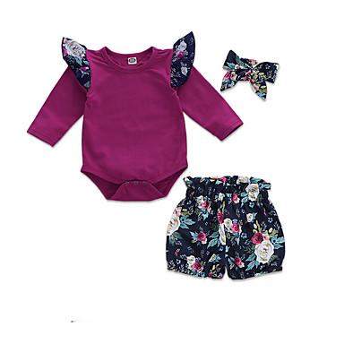 12da5667555 Dítě Dívčí Aktivní Denní Květinový Dlouhý rukáv Standardní Polyester Sady  oblečení Fialová