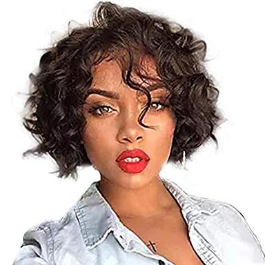 voordelige Korting Pruiken & Hair Extensions-Echt haar Kanten Voorkant Pruik Bobkapsel Korte Bob stijl Braziliaans haar Golvend Zwart Pruik 130% Haardichtheid met babyhaar Natuurlijke haarlijn Voor donkere huidskleur 100% Maagd 100% handgebonden