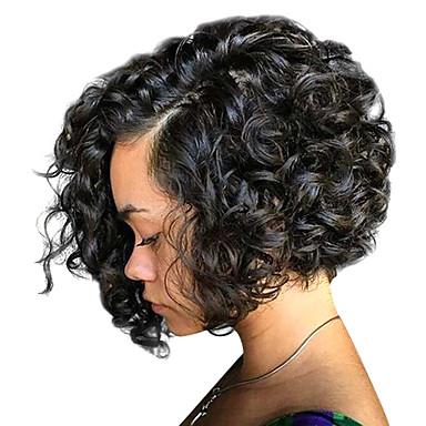 olcso Paróka és póthaj-Emberi haj Csipke eleje Paróka Bob frizura stílus Brazil haj Göndör Paróka 130% 150% 180% Haj denzitás baba hajjal Női Közepes Emberi hajból készült parókák