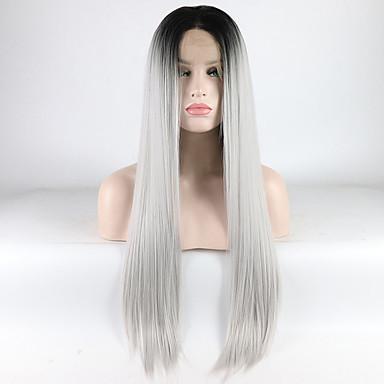 Pruik Lace Front Synthetisch Haar Dames Recht Ombre Middelste stuk 180% Human Hair Density Synthetisch haar 18-26 inch(es) Verstelbaar / Hittebestendig / Elastisch Ombre Pruik Lang Kanten Voorkant