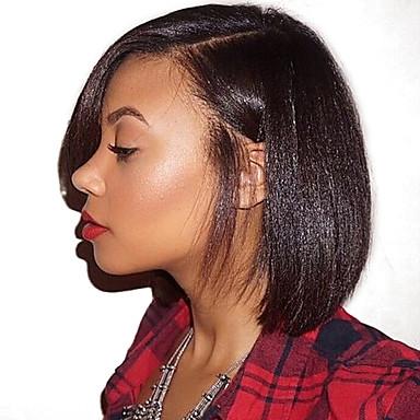 Echt haar Kanten Voorkant Pruik Diepe scheiding Zijdeel Rihanna stijl Braziliaans haar YakiRecht Pruik 130% Haardichtheid met babyhaar Natuurlijke haarlijn Voor donkere huidskleur 100% handgebonden