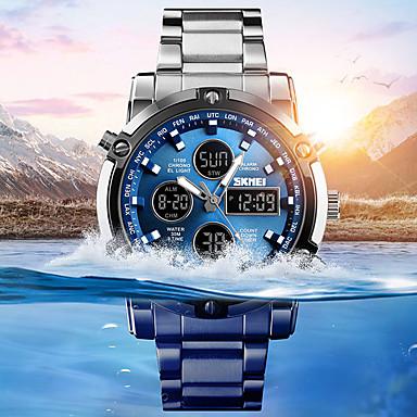 Недорогие Спортивные часы-Муж. Спортивные часы Армейские часы электронные часы Цифровой Нержавеющая сталь Черный / Серебристый металл 30 m Защита от влаги Будильник Секундомер Аналого-цифровые На каждый день Мода -