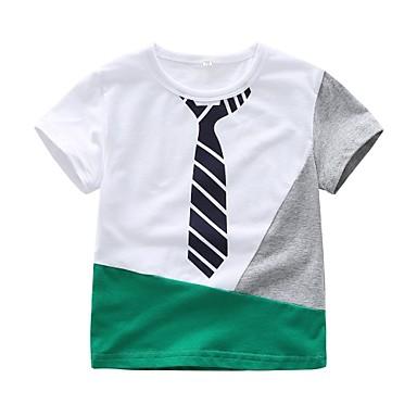 זול חולצות לתינוקות לבנים-טישירט כותנה שרוולים קצרים דפוס בסיסי בנים תִינוֹק / פעוטות