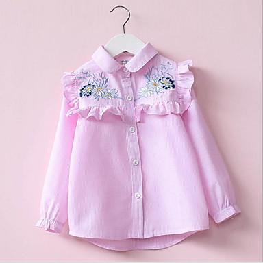 baratos Blusas para Meninas-Infantil Bébé Para Meninas Activo Básico Listrado Floral Manga Longa Blusa Rosa