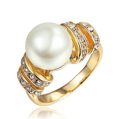 Χαμηλού Κόστους Μοδάτο Δαχτυλίδι-Γυναικεία Λευκό Cubic Zirconia Κλασσικό Δαχτυλίδι Δαχτυλίδι Αρραβώνων 18Κ Επίχρυσο Απομίμηση Μαργαριταριού Προσομειωμένο διαμάντι Στυλάτο Μοντέρνα Κομψό Μοδάτο Δαχτυλίδι Κοσμήματα Χρυσό / Ασημί Για