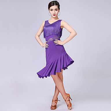 라틴 댄스 드레스 여성용 성능 우유 섬유 레이스 / 태슬 / 스플리트 조인트 민소매 높음 드레스