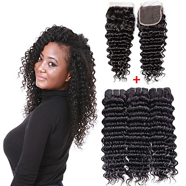 cheap Human Hair Weaves-3 Bundles with Closure Brazilian Hair Deep Curly Remy Human Hair Human Hair Extensions Hair Weft with Closure 8-26 inch Natural Human Hair Weaves Soft Best Quality New Arrival Human Hair Extensions