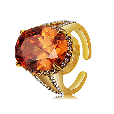 Χαμηλού Κόστους Μοδάτο Δαχτυλίδι-Γυναικεία Πορτοκαλί Κρυστάλλινο Ρετρό Δαχτυλίδι Δαχτυλίδι για τη μέση των δαχτύλων Ανοίξτε τον δακτύλιο 18Κ Επίχρυσο Προσομειωμένο διαμάντι Κράμα Σειρά Τοτέμ Μοντέρνο Πολυτέλεια Βίντατζ