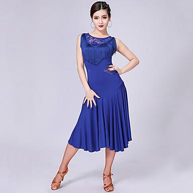ชุดเต้นละติน ชุดเดรสต่างๆ สำหรับผู้หญิง Performance เส้นใยโปรตีนจากนม ลูกไม้ / พู่ / ข้อต่อ เสื้อไม่มีแขน สูง ชุดเดรส