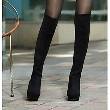 voordelige Dameslaarzen-Dames Suède Herfst winter Laarzen Sleehak Over de knie laarzen Zwart