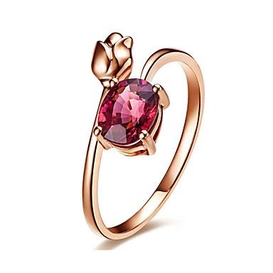 5b048dc97614 Mujer Fucsia Zirconia Cúbica Solitario Anillo Rosa Oro Plateado Diamante  Sintético Flor Amor Elegante Francés Anillos