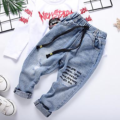 baratos Jeans Para Meninos-Infantil Para Meninos Básico Sólido Buraco rasgado Com Cordão Algodão Jeans Azul Claro