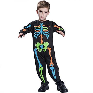 Luuranko / Pääkallo Cosplay-Asut Lasten Poikien Yksiosainen Halloween Halloween Karnevaali Masquerade Festivaali / loma Teryleeni Polyesteria Sateenkaari Karnevaalipuvut Pääkallokuvio