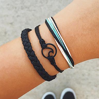 billige Motearmbånd-Dame Sjal Armbånd Flettet Bølge Vintage Europeisk Snor Armbånd Smykker Svart Til Daglig