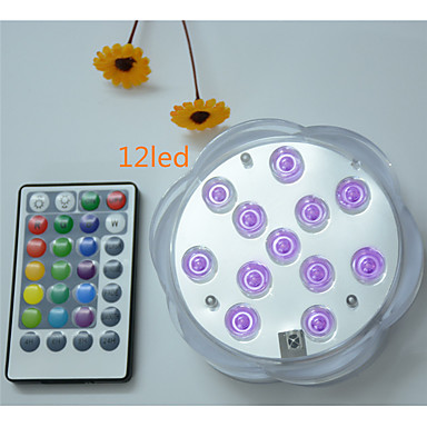 billige Utendørsbelysning-1pc 5 W Undervannslys Vanntett / Fjernstyrt / Mulighet for demping RGB 4.5 V Egnet for vaser og akvarier 12 LED perler