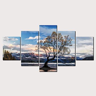דפוס הדפסי בד מגולגל - מופשט L ו-scape קלסי מודרני חמישה פנלים הדפסים אמנותיים