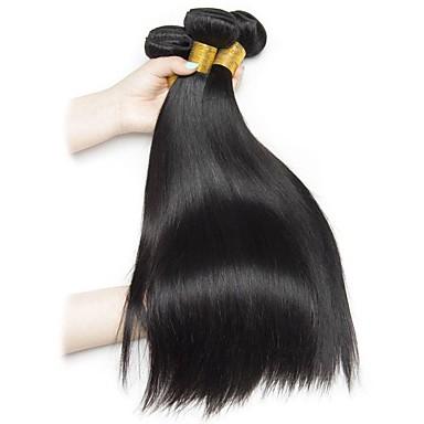 baratos Extensões de Cabelo Natural-4 pacotes Cabelo Brasileiro Liso Cabelo Natural Remy Cabelo Humano Ondulado Extensor Cabelo Bundle 8-28inch Côr Natural Tramas de cabelo humano Vida Fantasias Criativo Extensões de cabelo humano