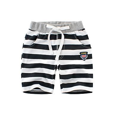 baratos Calças para Meninos-Infantil Para Meninos Básico Listrado Cordões Algodão Shorts Preto