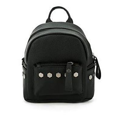 女性用 バッグ PU バックパック リベット ブラック / ルビーレッド / グレー