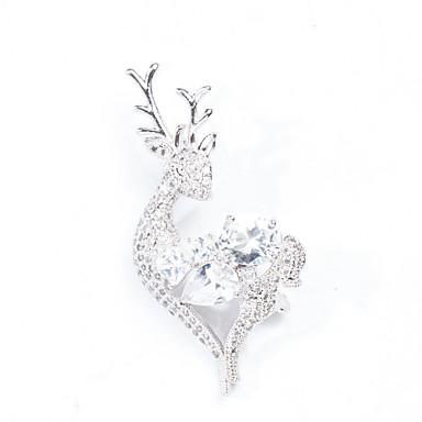 voordelige Dames Sieraden-Dames Zirkonia Broches Hert Artistiek Broche Sieraden Wit Voor Bruiloft Feest Lahja Afspraakje Straat