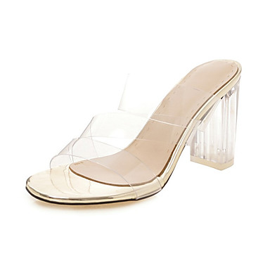 cheap Women's Shoes New Arrivals-Women's PU(Polyurethane) Spring & Summer Sandals Chunky Heel Open Toe White / Black / Silver / Wedding / Party & Evening