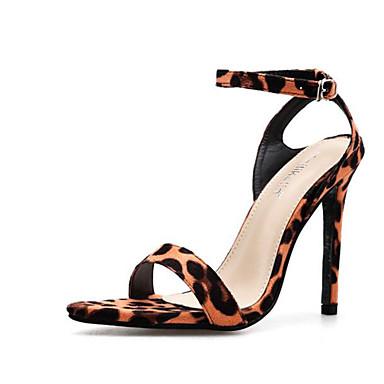 povoljno Ženske sandale-Žene PU Proljeće ljeto Sandale Stiletto potpetica Otvoreno toe Kopča Crn / Leopard / Color block