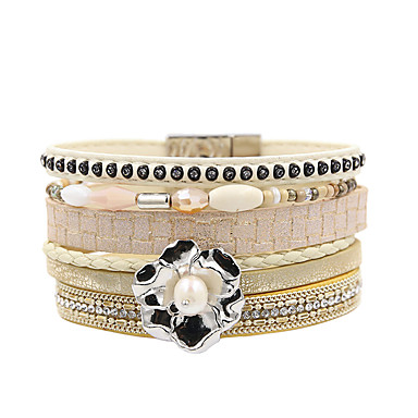 abordables Bracelet-Bracelets en cuir Femme Multirang Pétale Elégant Bohème Bracelet Bijoux Beige pour Cadeau Quotidien Entraînement Soirée Anniversaire