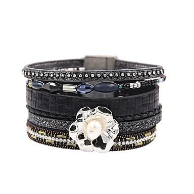 abordables Bracelet-Bracelets en cuir Femme Multirang Pétale Elégant Bohème Bracelet Bijoux Noir pour Cadeau Quotidien Entraînement Soirée Anniversaire