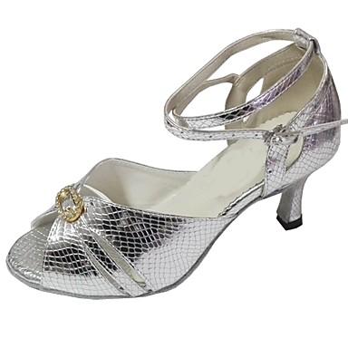 baratos Sapatos de Salsa-Mulheres Sapatos de Dança Couro Ecológico Sapatos de Dança Latina Cristal / Strass Sandália Salto Carretel Personalizável Prata