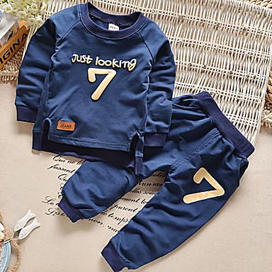 رخيصةأون صبيان ملابس الرضع-مجموعة ملابس كم طويل خملة الجاكوارد للصبيان طفل