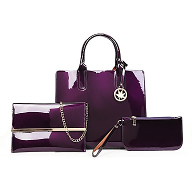 00c8e8a389 Γυναικεία Τσάντες Λουστρίνι Σετ τσάντα 3 σετ Σετ τσαντών Κουμπί   Φερμουάρ  Συμπαγές Χρώμα Μαύρο   Ρουμπίνι   Βυσσινί