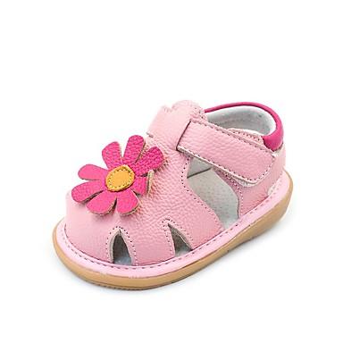 baratos Para Crianças de 0-9 Meses-Para Meninas Pele Sandálias Crianças (0-9m) / Criança (9m-4ys) Conforto / Primeiros Passos Branco / Rosa claro Verão