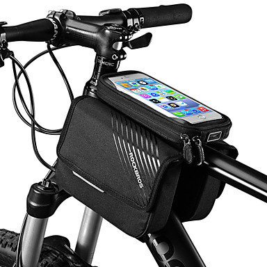 ROCKBROS Cell Phone Bag Bike Frame Bag Top Tube 6 inch Touch Screen Reflective Logo Rainproof Cycling for iPhone X iPhone XR iPhone XS Black Mountain Bike MTB Bike / Cycling / iPhone XS Max