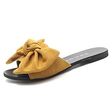 voordelige Damespantoffels & slippers-Dames PU Lente Informeel Slippers & Flip-Flops Platte hak Strik Zwart / Beige / Geel