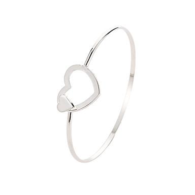 baratos Bangle-Mulheres Bracelete Clássico Estiloso Cobre Pulseira de jóias Prata Para Diário Festa de Noite Escola Encontro Festival