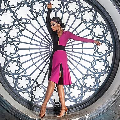 Latein-Tanz Kleider Damen Leistung Elasthan Horizontal gerüscht / Kombination Langarm Kleid