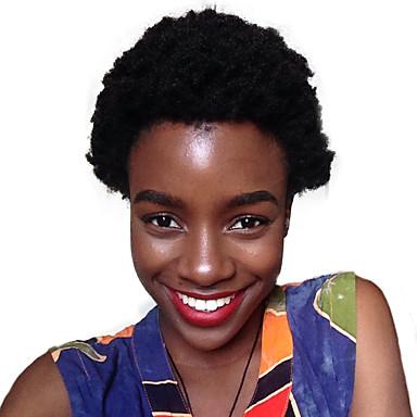 Pelo humano pelucas sin tapa Pelo Natural Afro Kinky / Rizado Jheri Bob corto Diseños de Moda / Gran venta / Cómodo Negro Corta Sin Tapa Peluca Mujer / Entradas Naturales