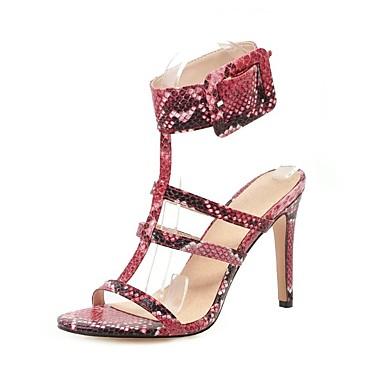 cheap Women's Shoes New Arrivals-Women's PU(Polyurethane) / Snakeskin Spring & Summer British / Preppy Sandals Stiletto Heel Buckle White / Red / Blue / Party & Evening / Party & Evening