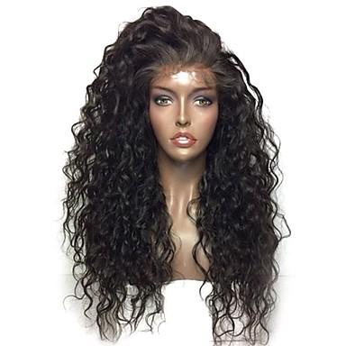 סינתטי תחרה פאות הקדמי Kinky Curly סגנון עם שיער תינוקות חזית תחרה פאה שחור שחור שיער סינטטי 24 אִינְטשׁ בגדי ריקוד נשים עמיד לחום / Party / נשים שחור פאה אורך בינוני פאה טבעית