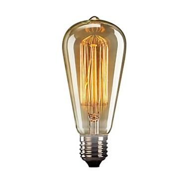 billige Elpærer-1pc 40 W E26 / E27 ST64 Gul Gjennomsiktig Kropp Glødende Vintage Edison lyspære 110-130 V
