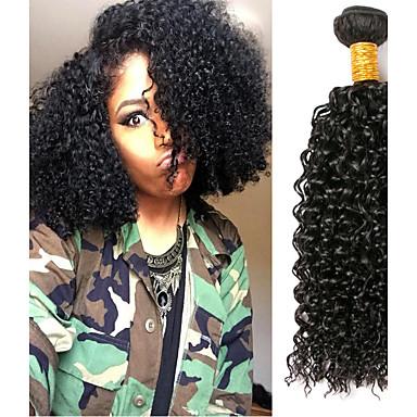 baratos Extensões de Cabelo Natural-3 pacotes Cabelo Brasileiro Kinky Curly Cabelo Virgem Cabelo Humano Ondulado Cabelo Bundle Um Pacote de Solução 8-28 polegada Côr Natural Tramas de cabelo humano Macio Legal Grossa Extensões de