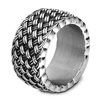 voordelige Heren Ring-Heren Zilver Cross Body Ring Verlovingsring Titanium Staal Verticaal Punk Hip-hop Initial Modieuze ringen Sieraden Zilver Voor Verloving Lahja Ceremonie 7 / 8 / 9 / 10 / 11