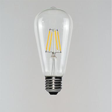 billige Elpærer-1pc 3 W LED-glødepærer 190-290 lm E26 / E27 ST64 4 LED perler