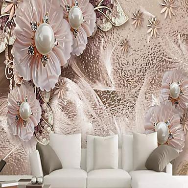 billige Veggkunst-bakgrunns / Veggmaleri / Wall Cloth Lerret Tapetsering - selvklebende nødvendig Blomstret / Art Deco / 3D