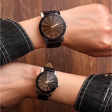 92efd651ffb6 Pareja Reloj de Pulsera Cuarzo Pareo Suyo y suya Piel Negro   Blanco 30 m  Resistente al Agua Nuevo diseño Analógico Casual Moda - Blanco Negro