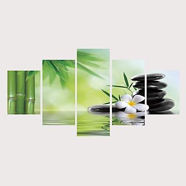 billige Trykk-Trykk Valset lerretskunst Strukket Lerret Trykk - Botanisk Blomstret / Botanisk Moderne Fem Paneler Kunsttrykk