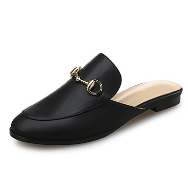 cheap Women's Shoes New Arrivals-Women's Faux Leather Spring & Summer Classic Clogs & Mules Flat Heel Square Toe Button Black