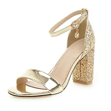 cheap Women's Shoes New Arrivals-Women's PU(Polyurethane) Spring & Summer Sandals Chunky Heel Open Toe Gold / Silver / Wedding / Party & Evening