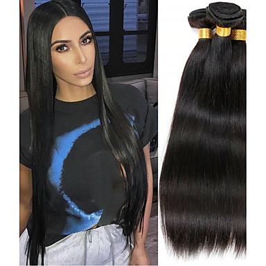 voordelige Weaves van echt haar-4 bundels Braziliaans haar Natuurlijk recht Mensen Remy Haar Menselijk haar weeft Verlenging Bundle Hair 8-28inch Natuurlijke Kleur Menselijk haar weeft Dansen Zijdeachtig Modieus Extensions van echt
