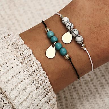 abordables Bracelet-Bracelet à Perles Bracelet Pendentif Femme Double Tour Poire simple Classique Rétro Vintage Bracelet Bijoux Bleu pour Quotidien Plein Air Travail